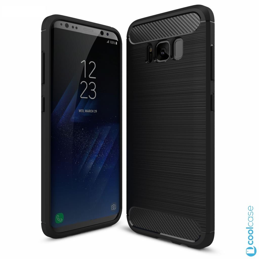 Silikonové pouzdro na mobil CARBON BRUSHED pro Samsung Galaxy S8 Černé 2659b9b7b09