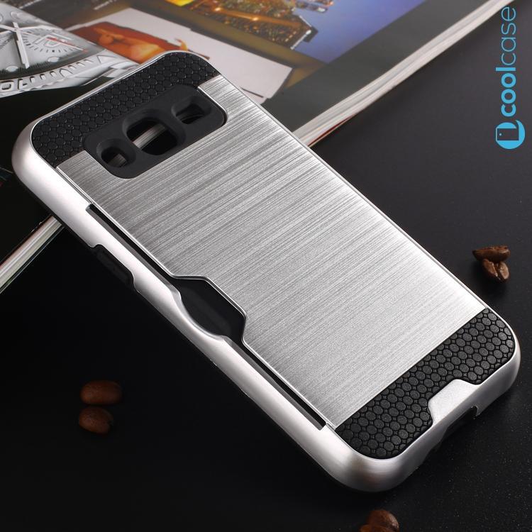 Odolné pouzdro BRUSHED ARMOR na mobil Samsung Galaxy J3 (2016) Stříbrné (Odolný kryt či obal na mobil Samsung Galaxy J3 (2016))