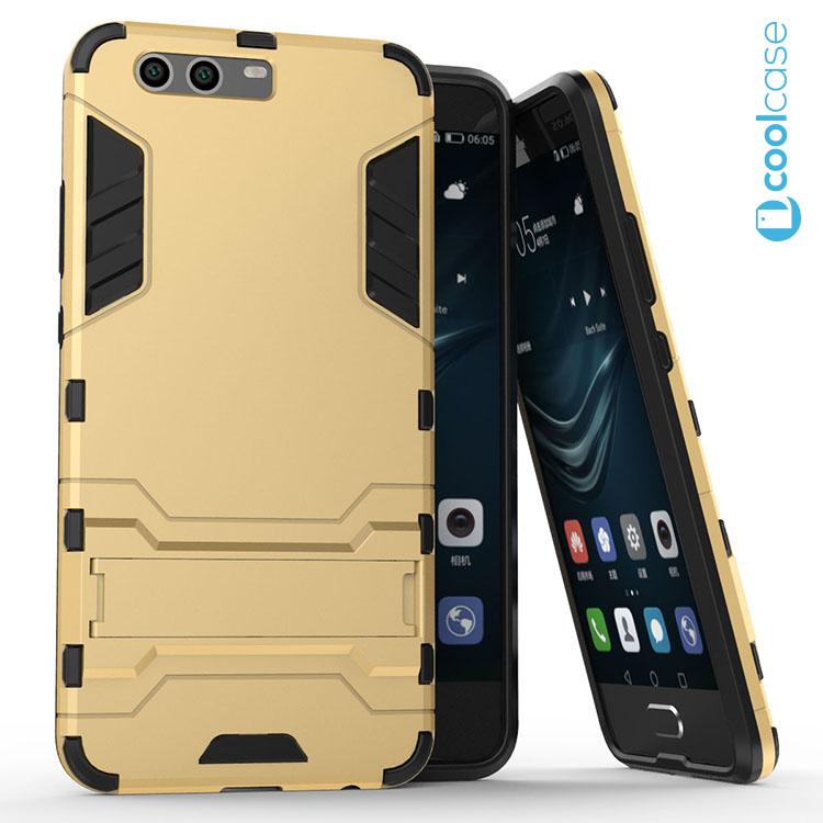Odolné pouzdro ARMOR CASE na mobilní telefon Huawei P10 Zlatavé (Odolný kryt či obal na mobil Huawei P10 se stojánkem)