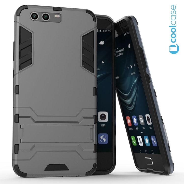 Odolné pouzdro ARMOR CASE na mobilní telefon Huawei P10 Šedé (Odolný kryt či obal na mobil Huawei P10 se stojánkem)
