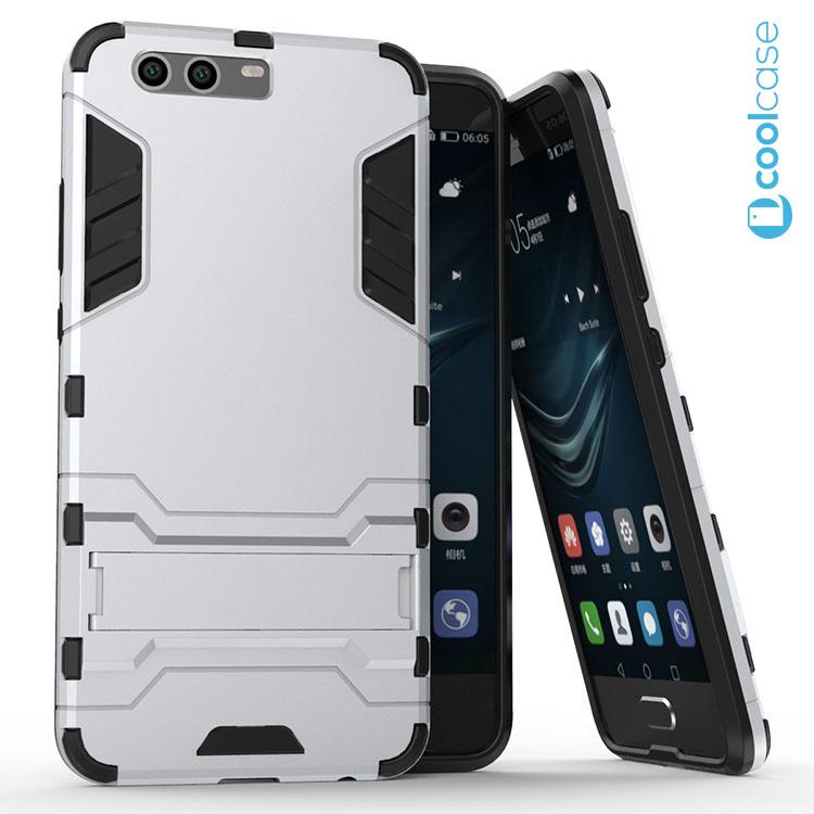 Odolné pouzdro ARMOR CASE na mobilní telefon Huawei P10 Stříbrné (Odolný kryt či obal na mobil Huawei P10 se stojánkem)