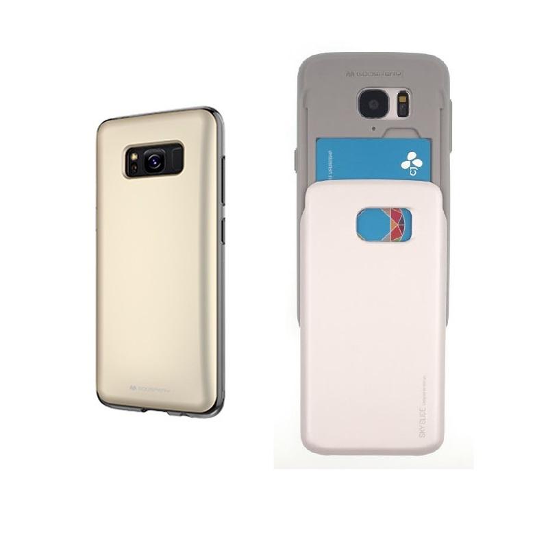 Silikonové pouzdro Sky Slide na Samsung Galaxy S8 + slot na platební karty Zlaté (Silikonový + plastový kryt či obal Mercury Sky Slide Bumper Case na mobilní telefon Samsung Galaxy S8)