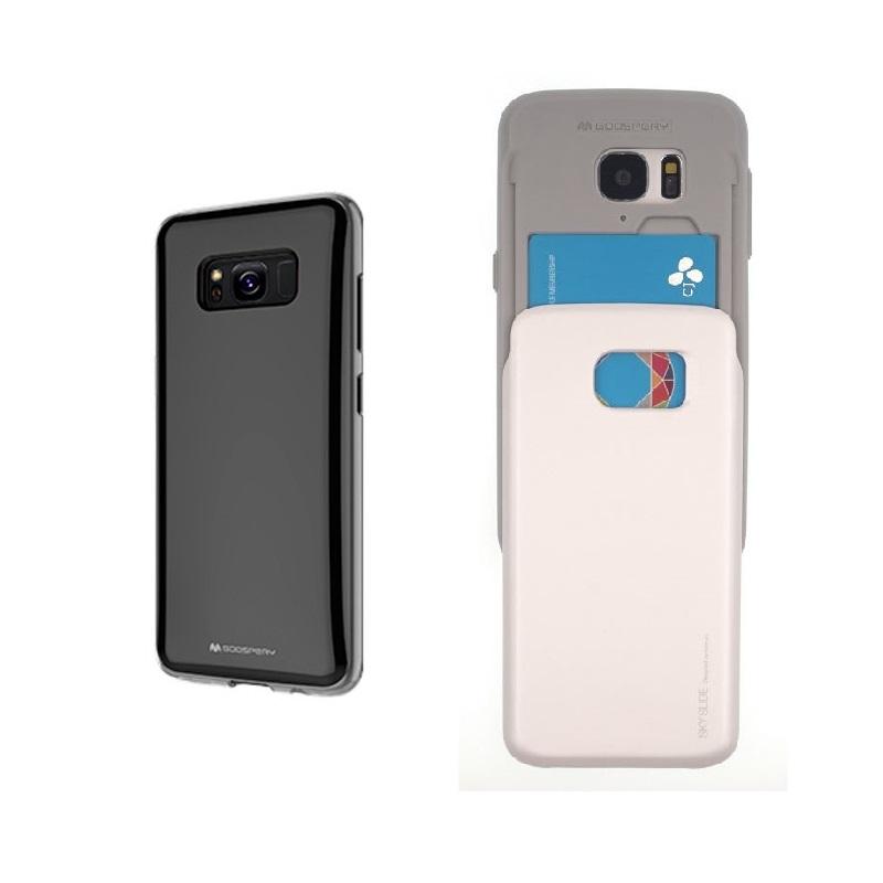 Silikonové pouzdro Sky Slide na Samsung Galaxy S8 + slot na platební karty Černé (Silikonový + plastový kryt či obal Mercury Sky Slide Bumper Case na mobilní telefon Samsung Galaxy S8)