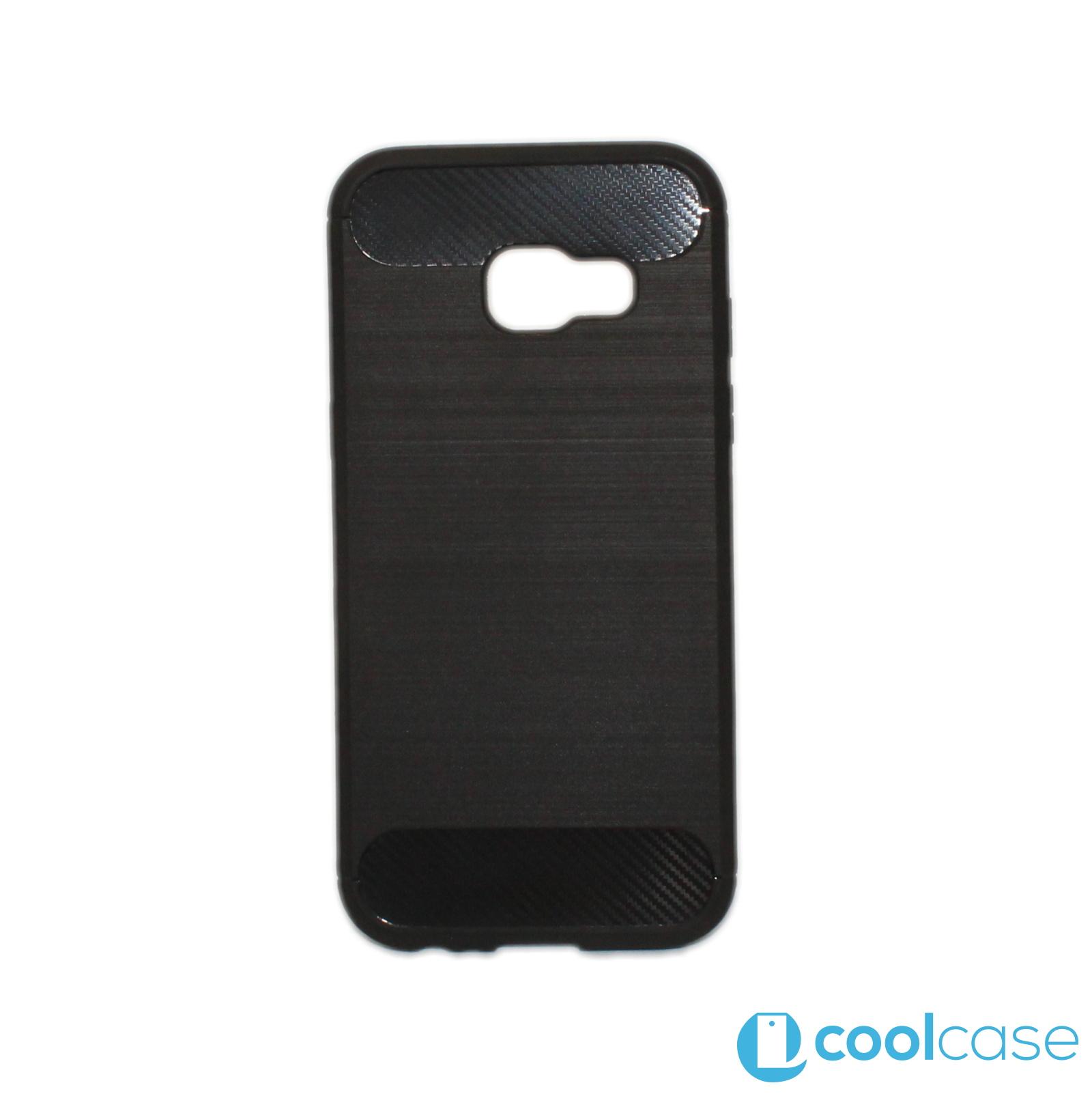 Silikonové pouzdro Carbon Brushed na mobil Samsung Galaxy A3 (2017) Černé d6a0e93a40f