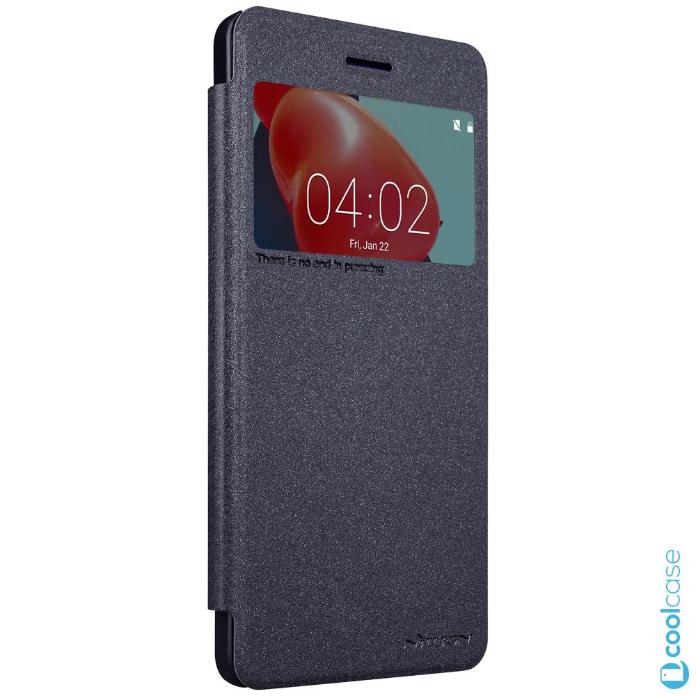 Flipové pouzdro Nillkin Sparkle S-View na mobil Nokia 6 Šedé (Flip vyklápěcí kryt či obal na mobil Nokia 6 v šedé barvě)
