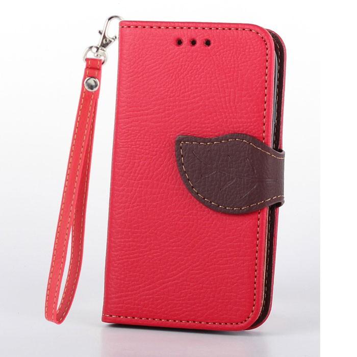 Flipové pouzdro na mobil LEAF BOOK Xiaomi Mi4 Červené (Flipové knížkové vyklápěcí pouzdro na mobilní telefon Xiaomi MI4 červené)