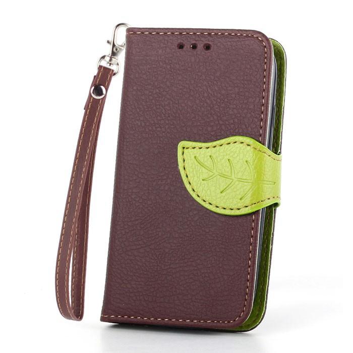 Flipové pouzdro LEAF BOOK Samsung Galaxy S5 Mini Hnědé (Flip kryt či obal na mobil Samsung Galaxy S5 Mini Hnědé)