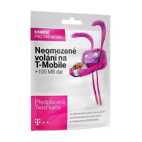 Předplacená SIM karta T-Mobile s kreditem 200 Kč Twist S námi