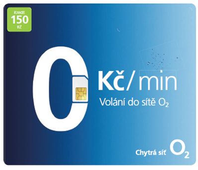 Předplacená SIM karta O2 s kreditem 150 Kč Tarif NA!VÝBĚR (SIM karta s tarifem Tarif NA!VÝBĚR a možností volat do O2 zdarma)