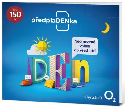 Předplacená SIM karta O2 s kreditem 150 Kč Tarif PředplaDENka (SIM karta s tarifem PředplaDENka a možností volat neomezeně do všech sítí)
