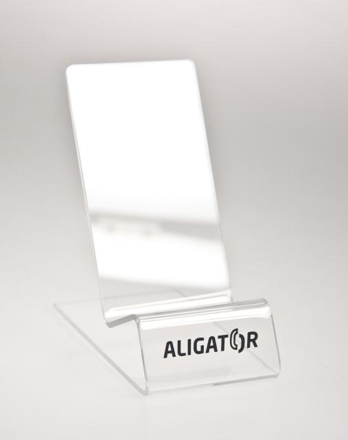 Čirý stojánek Aligator na mobilní telefony (Stojánek na mobilní telefony v čirém provedení)
