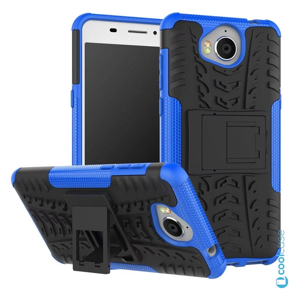 Odolné pouzdro na mobil PANZER CASE NEO na mobil Huawei Nova Smart Modré (Odolný kryt či obal na mobil Huawei Nova Smart se stojánkem Modré)