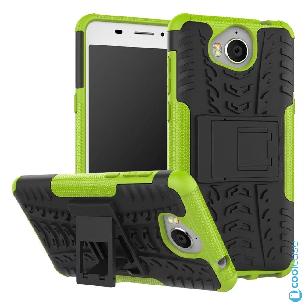 Odolné pouzdro na mobil PANZER CASE NEO na mobil Huawei Nova Smart Zelené (Odolný kryt či obal na mobil Huawei Nova Smart se stojánkem Zelené)