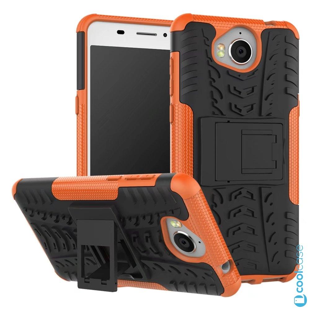Odolné pouzdro na mobil PANZER CASE NEO na mobil Huawei Nova Smart Oranžové (Odolný kryt či obal na mobil Huawei Nova Smart se stojánkem Oranžové)