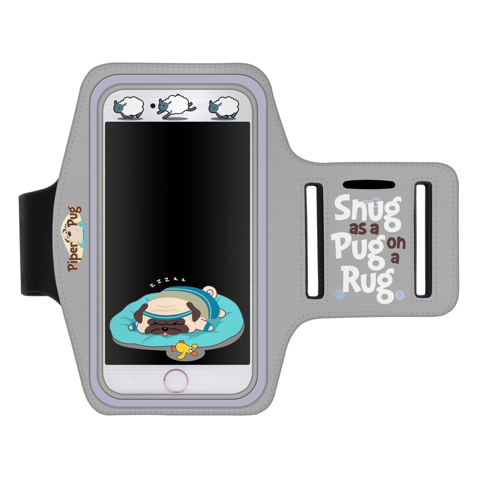"""Sportovní pouzdro mopsík a ovečky pro mobily do 5,5"""" iPhone 6 Plus/ S7 Edge šedé (Pouzdro na běhání pro mobilní telefony do 5,5 palců)"""