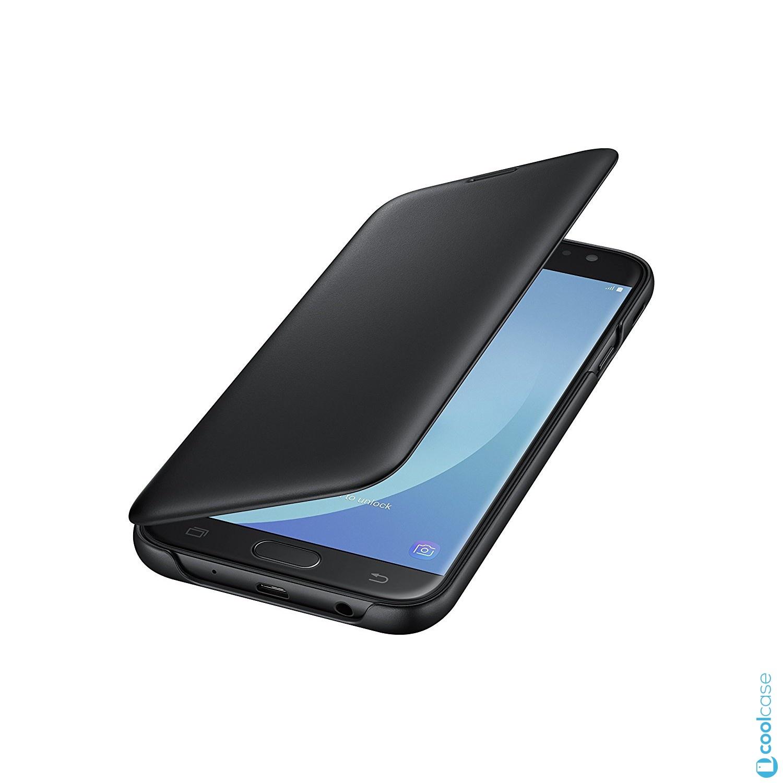 Flipové originální pouzdro EF-WJ730CBE na mobil Samsung Galaxy J7 (2017) Černé (Flip vyklápěcí kryt či obal EF-WJ730CBE Samsung Folio na mobil Samsung Galaxy J7 2017 SM-J730 Černé)
