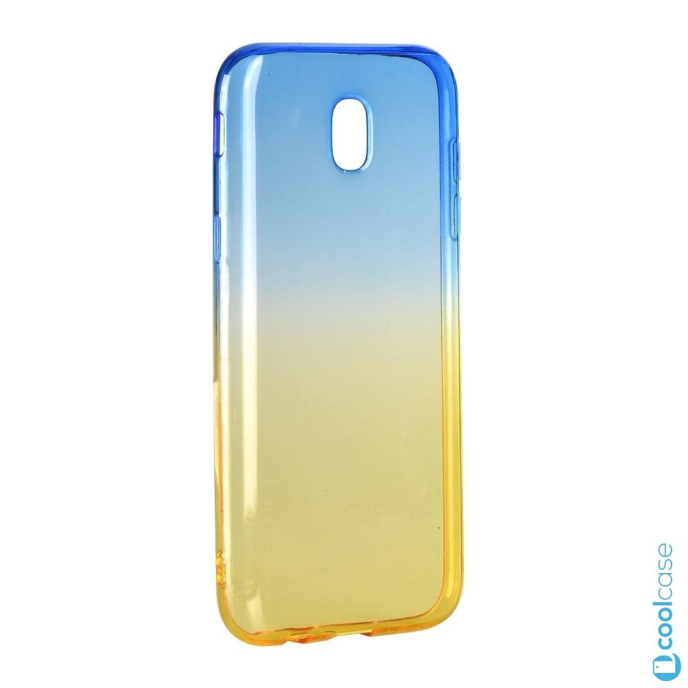 Silikonové pouzdro Forcell Ombre na Samsung Galaxy J5 2017 Blue - Gold (Silikonový kryt či obal Forcell Ombre na mobilní telefon Samsung Galaxy J5 (2017) SM-J530 v modro žluté barvě)