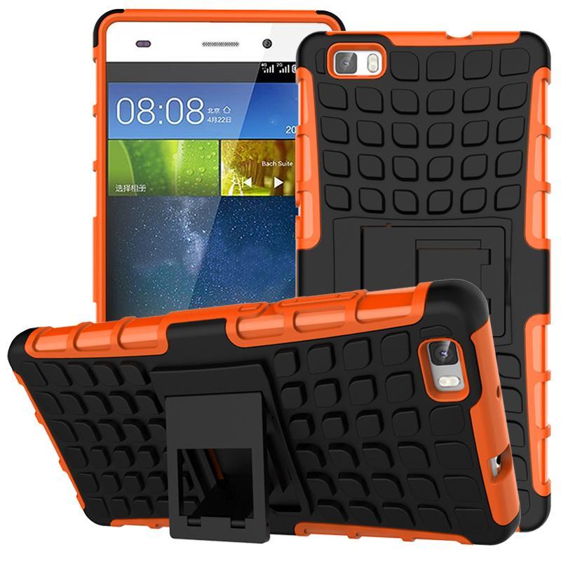 Odolné pouzdro na mobil PANZER CASE na mobilní telefon Huawei P8 Oranžové (Odolný kryt či obal na mobil Huawei P8 se stojánkem Oranžové)
