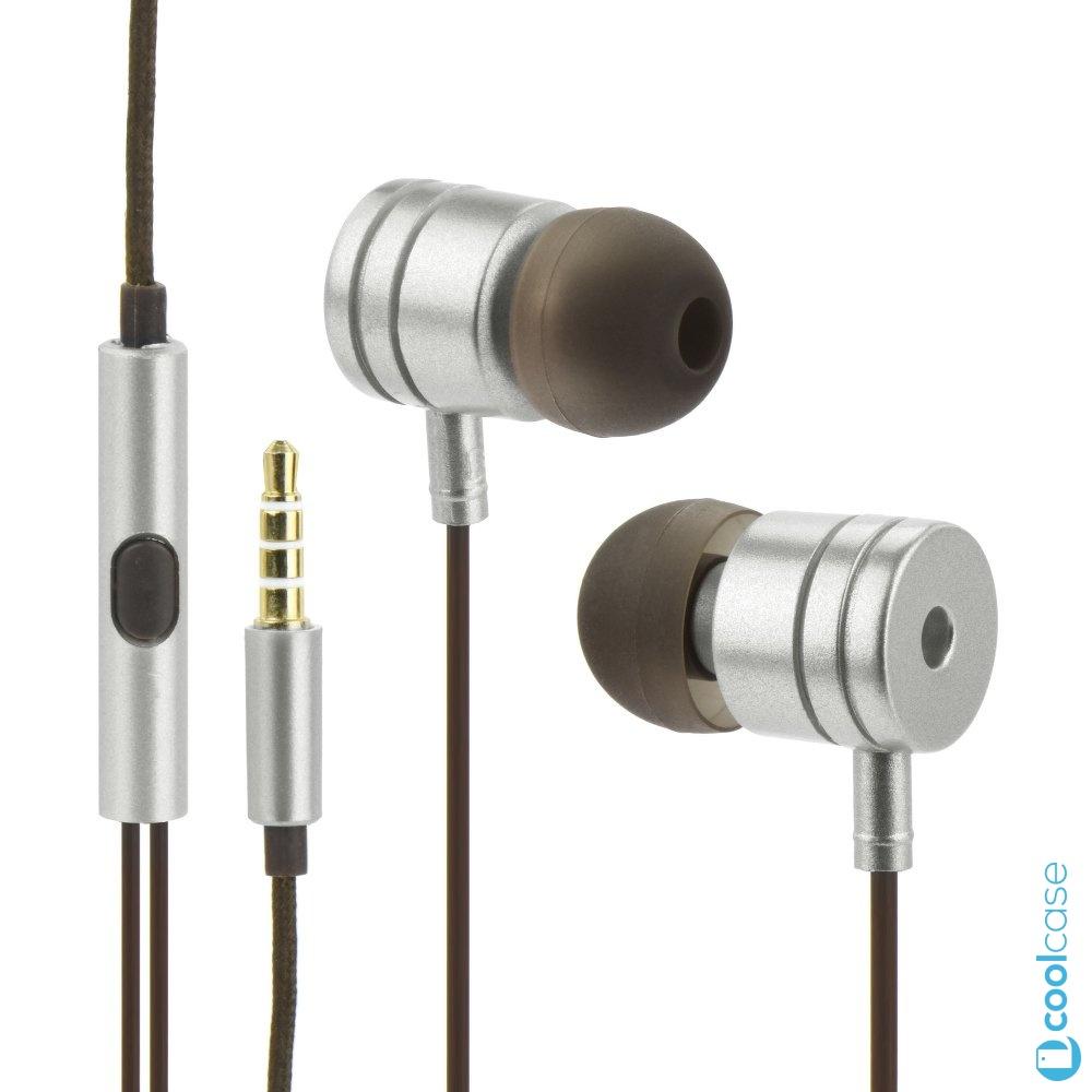 Handsfree sluchátka do uší Metal MI Stereo, 3,5mm jack, Silver (Sluchátka do uší s měkkými koncovkami pro bezproblémový poslech hudby a hovory , stříbrná)