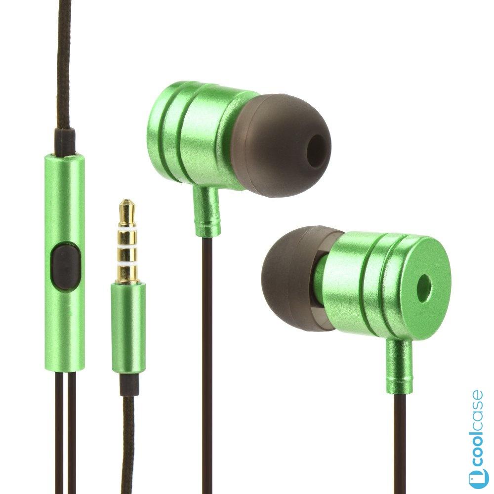 Handsfree sluchátka do uší Metal MI Stereo, 3,5mm jack, Green (Sluchátka do uší s měkkými koncovkami pro bezproblémový poslech hudby a hovory , zelená)