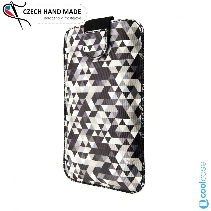Univerzální kapsičkový obal FIXED Soft Slim na mobily, vel. 3XL, Dark Triangles (Univerzální pouzdro či kryt s vysouváním typu kapsička pro telefony s rozměry do 142 x 73 x 8,1 mm, velikost 3XL, motiv Dark Triangles)