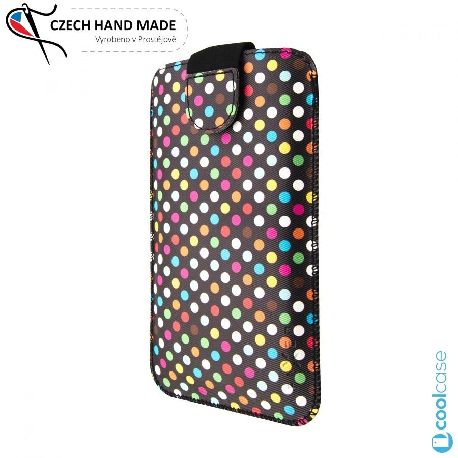 Univerzální kapsičkový obal FIXED Soft Slim na mobily, vel. 3XL, Rainbow Dots (Univerzální pouzdro či kryt s vysouváním typu kapsička pro telefony s rozměry do 142 x 73 x 8,1 mm, velikost 3XL, motiv Rainbow Dots)