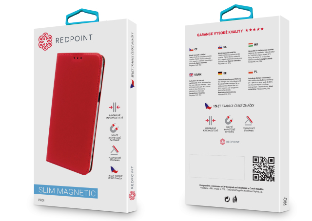 Flipové pouzdro na mobil REDPOINT Nokia 6 Červené (Flipové knížkové vyklápěcí pouzdro REDPOINT na mobilní telefon Nokia 6 Červené)