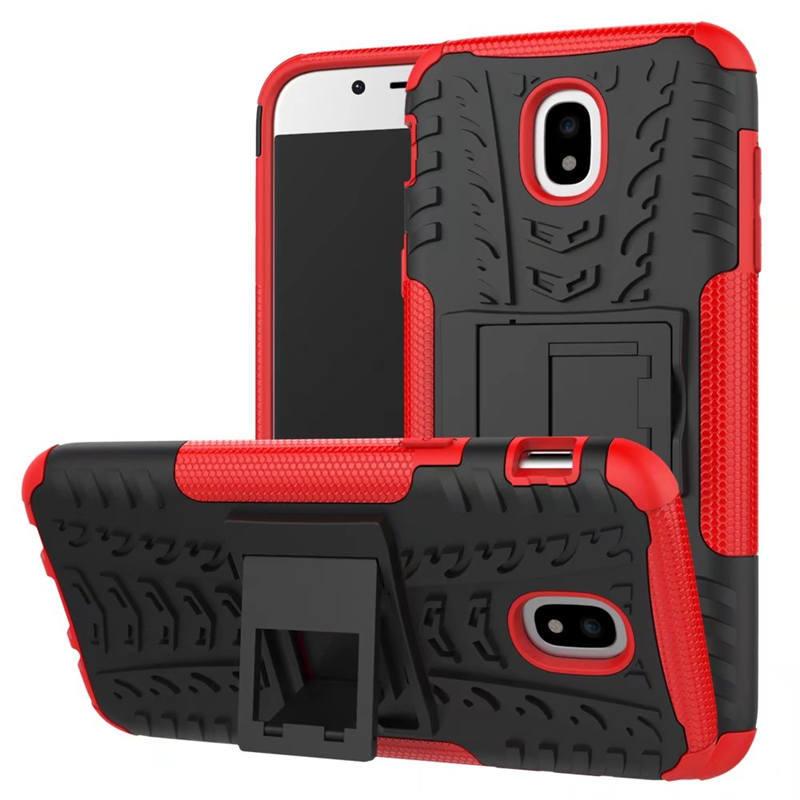 Odolné pouzdro PANZER CASE NEO na mobil Samsung Galaxy J3 (2017) Červené (Odolný kryt či obal Panzer na mobil Samsung Galaxy J3 (2017) se stojánkem - čeverný)