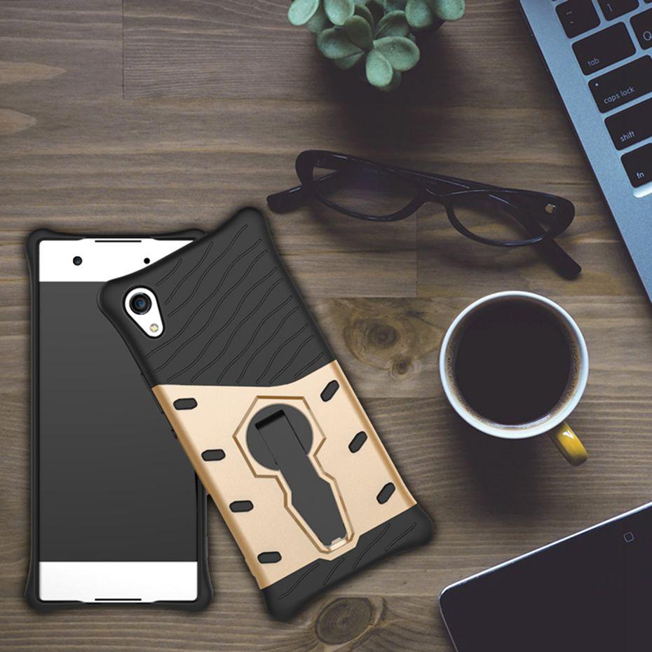 Odolné pouzdro NEW ARMOR CASE na mobilní telefon Sony Xperia XA1 Zlatavé (Odolný kryt či obal New Armor na mobil Sony Xperia XA1 se stojánkem - ve zlatavé)