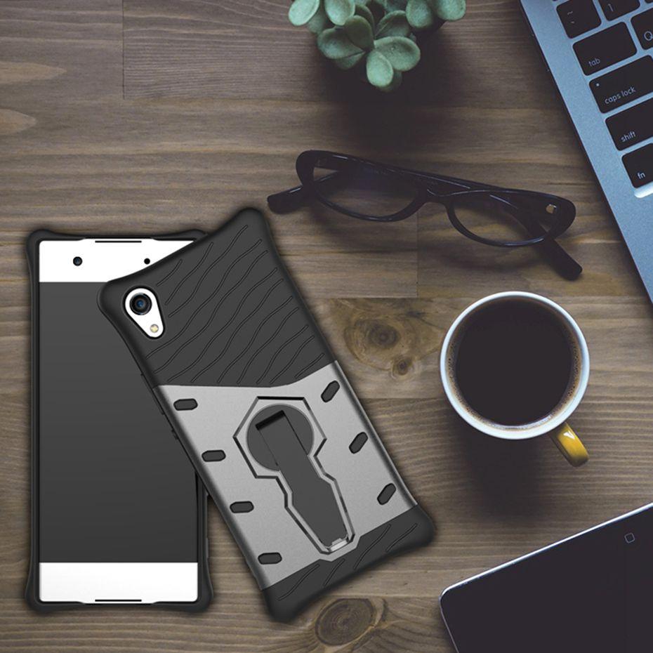 Odolné pouzdro NEW ARMOR CASE na mobilní telefon Sony Xperia XA1 Šedé (Odolný kryt či obal New Armor na mobil Sony Xperia XA1 se stojánkem - v Šedé)