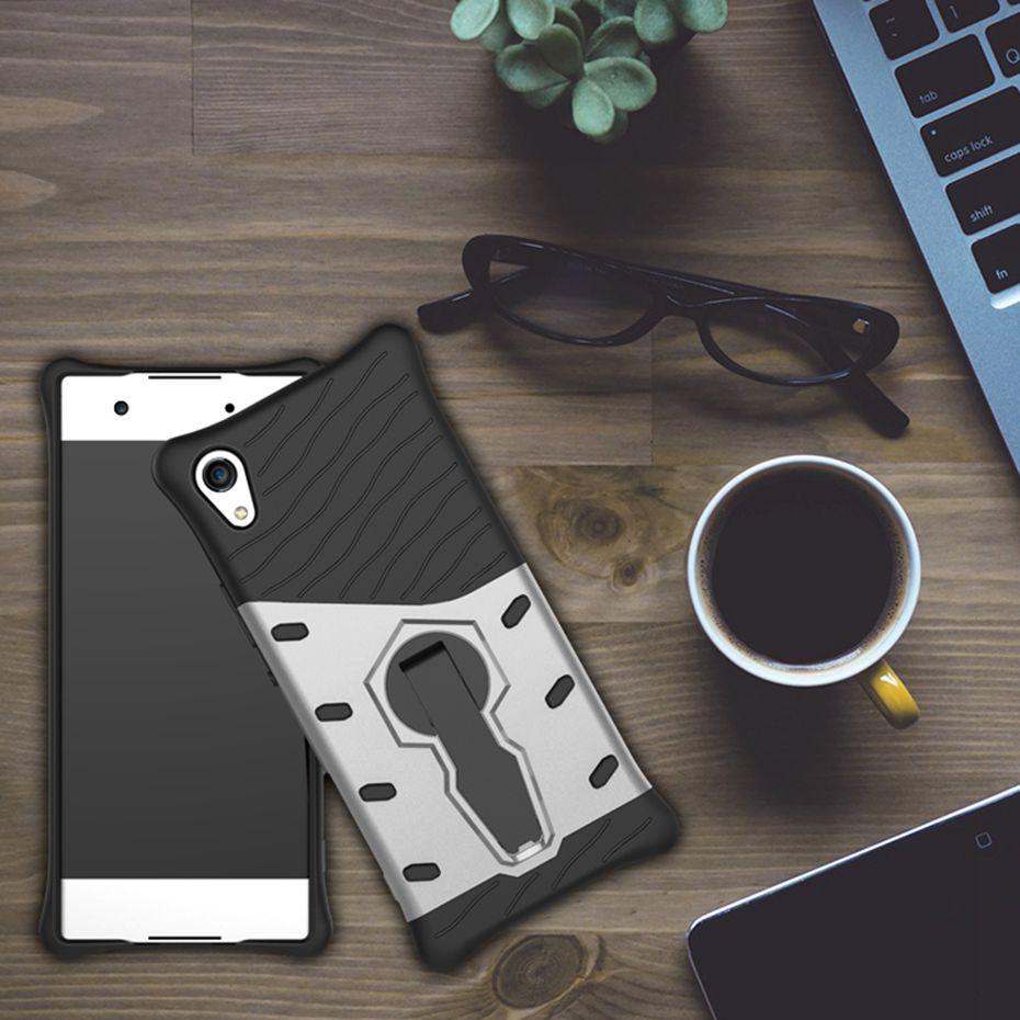 Odolné pouzdro NEW ARMOR CASE na mobilní telefon Sony Xperia XA1 Stříbrné (Odolný kryt či obal New Armor na mobil Sony Xperia XA1 se stojánkem - ve Stříbrné)