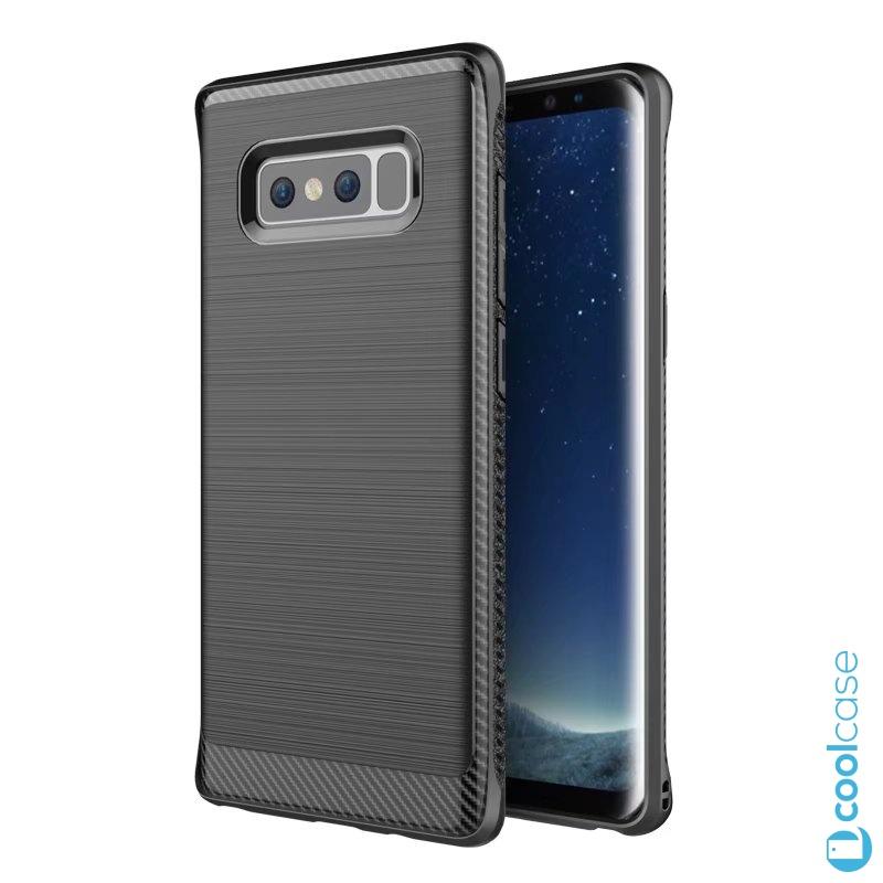 Silikonové pouzdro na mobil CARBON pro Samsung Galaxy Note 8 Černé + fólie (Carbon kryt či obal na mobilní telefon v silikonovém provedení Samsung Galaxy Note 8 + fólie na rovnou plochu displeje Black)