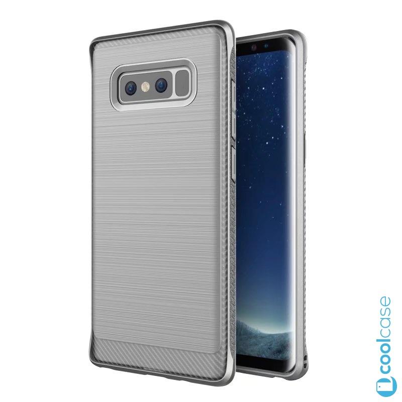 Silikonové pouzdro na mobil CARBON pro Samsung Galaxy Note 8 Šedé + fólie (Carbon kryt či obal na mobilní telefon v silikonovém provedení Samsung Galaxy Note 8 + fólie na rovnou plochu displeje Grey)