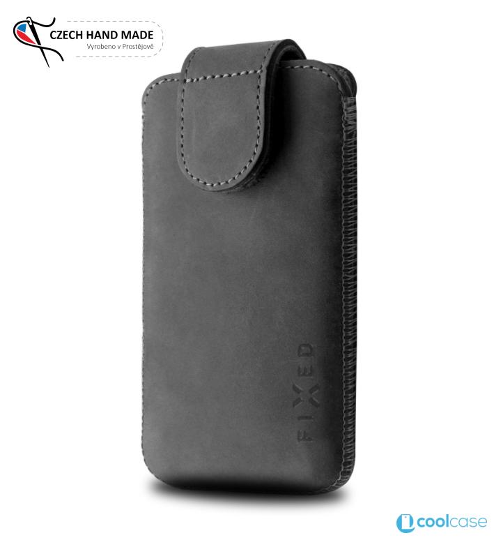 Univerzální kapsičkové kožené pouzdro FIXED Posh na mobily, vel. 3XL (Univerzální pouzdro či kryt z pravé hovězí kůže od českých zpracovatelů s vysouváním typu kapsička pro telefony s rozměry do 142 x 73 x 8,1 mm, velikost 3XL)
