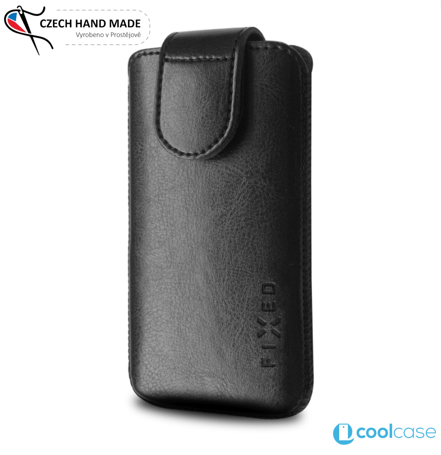 Univerzální kapsičkové pouzdro FIXED Sarif na mobily, PU kůže, vel. 6XL černé (Univerzální ručně šité pouzdro či kryt z PU kůže s vysouváním typu kapsička pro telefony s rozměry do 168,0 x 88,0 x 8,0 mm, velikost 6XL)