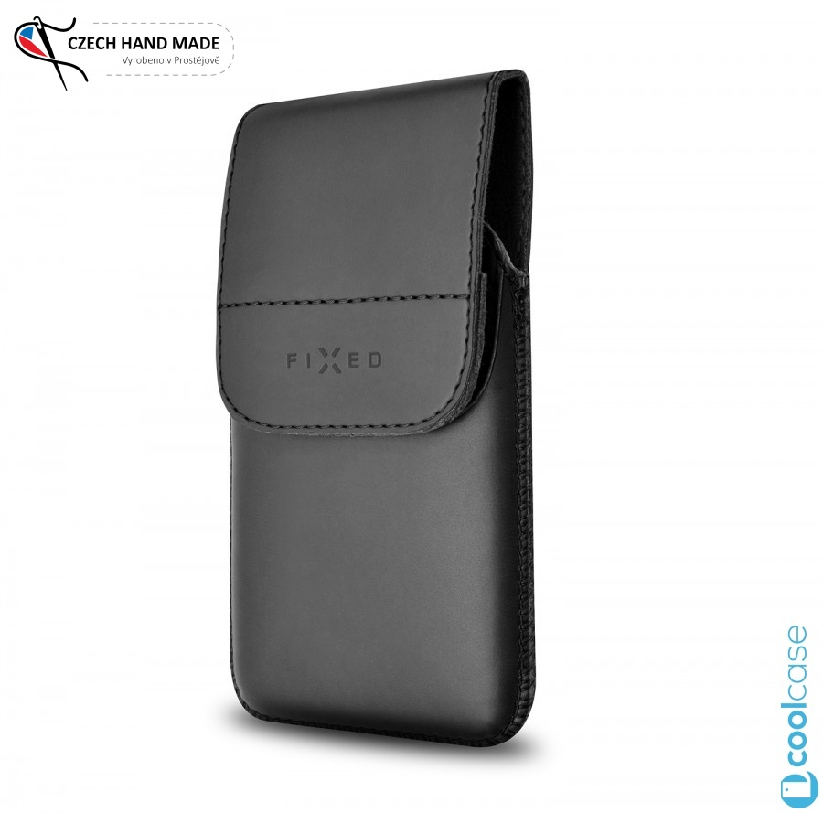 Vertikální kožené pouzdro FIXED Posh Pocket na opasek, vel. 4XL (Univerzální pouzdro či kryt na pásek, opasek z pravé hovězí kůže od českých zpracovatelů pro telefony s rozměry do 144,0 x 74,0 x 8,5 mm, velikost 4XL)