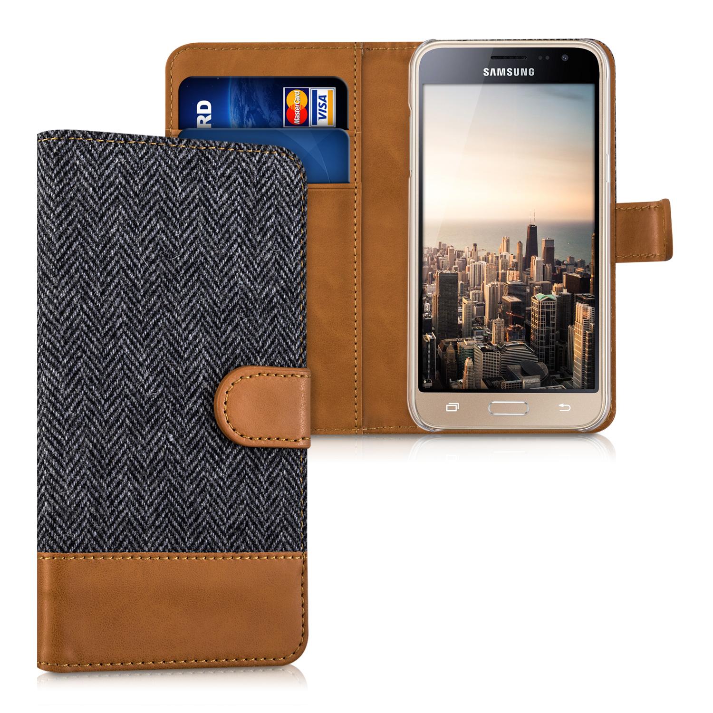 Luxusní flip pouzdro KWmobile Canvas na Samsung Galaxy J3 2016 Šedé tmavé 75453ebb482