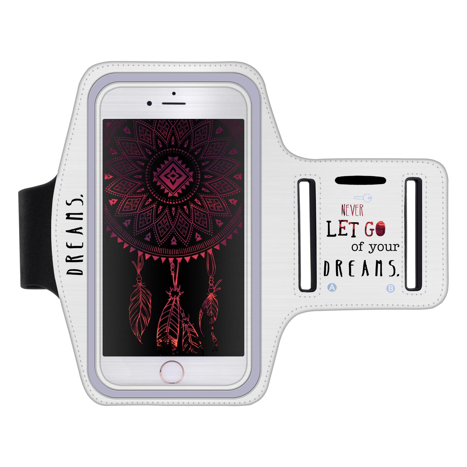 """Sportovní pouzdro NEVER DREAMS pro mobily do 5,1"""" iPhone 8 / S9 bílé (Pouzdro na běhání pro mobilní telefony do 5,1 palců)"""