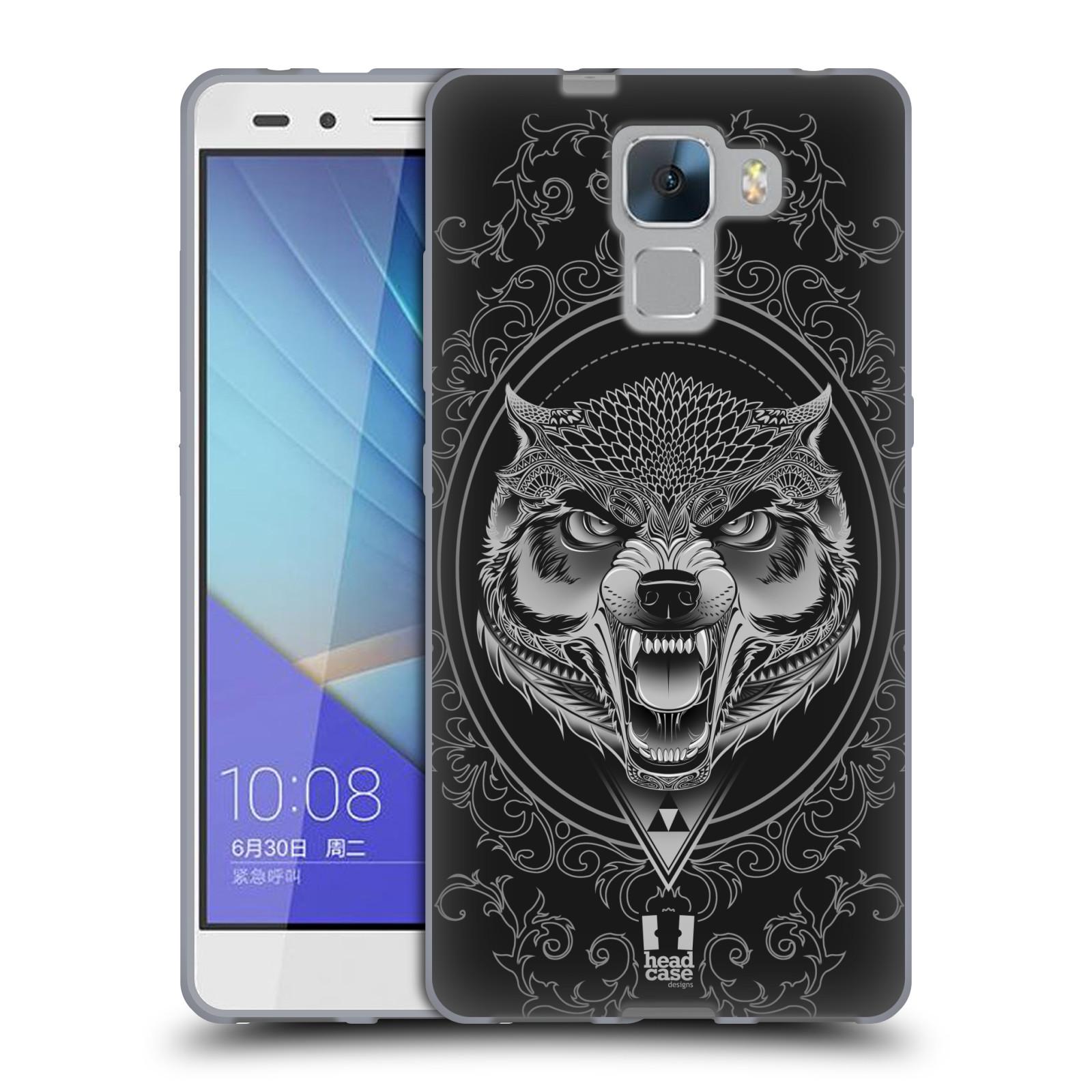 Silikonové pouzdro na mobil Honor 7 HEAD CASE Krutý vlk (Silikonový kryt či obal na mobilní telefon Huawei Honor 7 Krutý vlk)