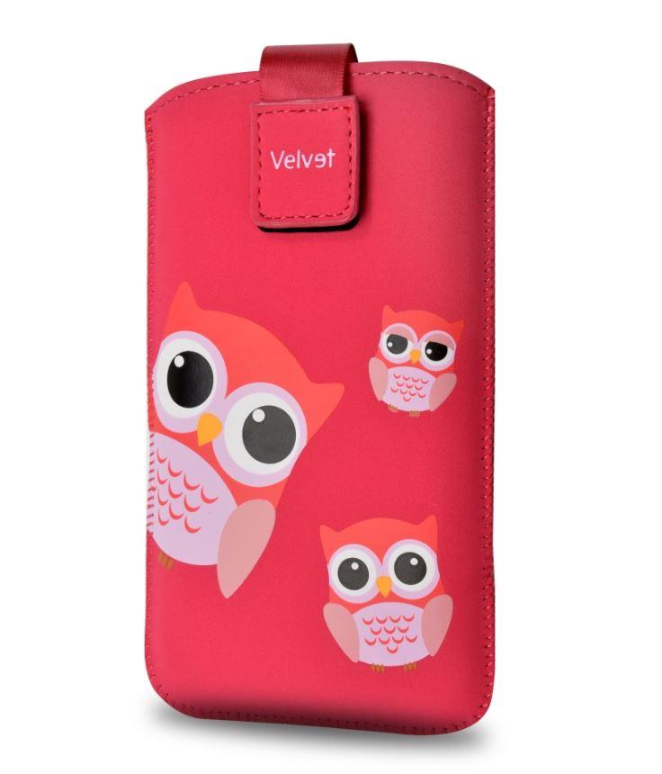Univerzální kapsičkový obal Fixed Velvet Owlet, vel. 5XL+, Sovičky (Univerzální pouzdro či kryt s vysouváním typu kapsička pro telefony s rozměry do 154 × 77 × 9,2 mm, velikost 5XL+,s Dušinkami, motiv Sovičky)