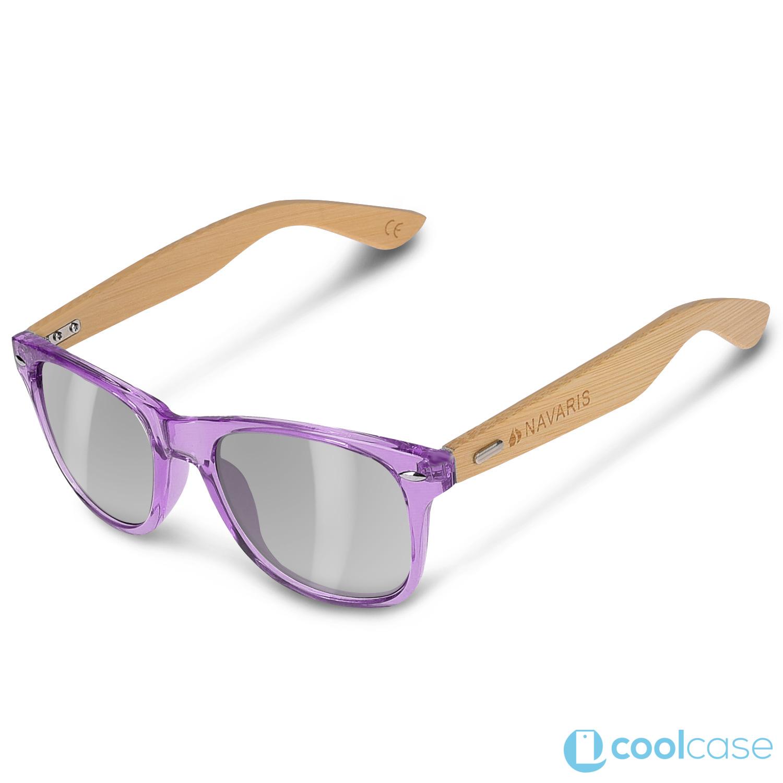 b04e8a96d Sluneční brýle Navaris s bambusovými nožičkami, UV400, Unisex, šedá skla,  fialové (