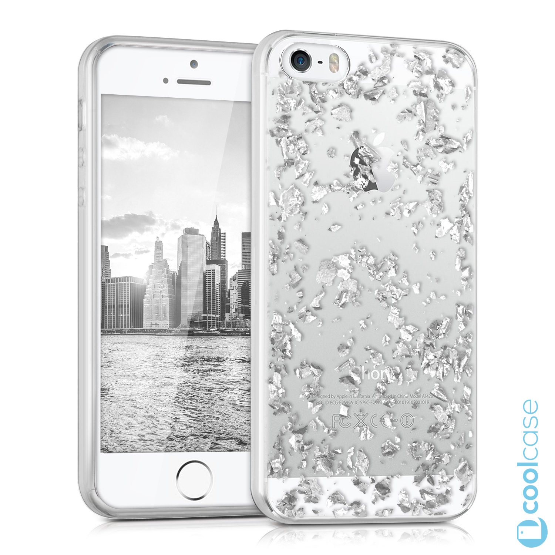 Silikonové pouzdro kwmobile Crystal pro mobil Apple iPhone 5   5S   SE  Stříbrné kousky ( cb3f41689d0