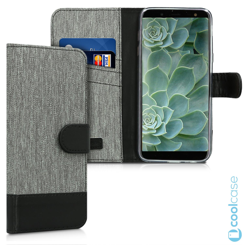 Luxusní flipové pouzdro KWmobile Canvas Wallet na Samsung Galaxy J6 2018  Šedé c50fc7195cd