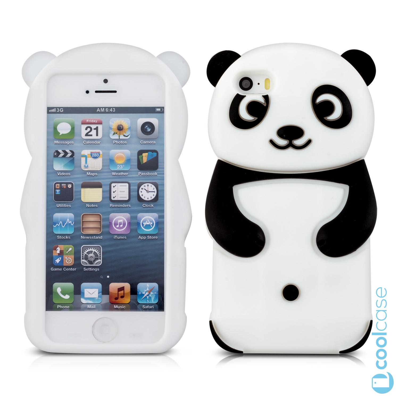 Silikonové 3D pouzdro kwmobile na mobil Apple iPhone 5   5S   SE Panda ( Silikonový 92e26e8b0c3
