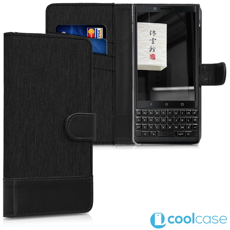 Luxusní flipové pouzdro KWmobile Canvas Wallet na Blackberry KeyTwo černé ( Flipové knížkové vyklápěcí pouzdro KWmobile 1ff7210bbb8