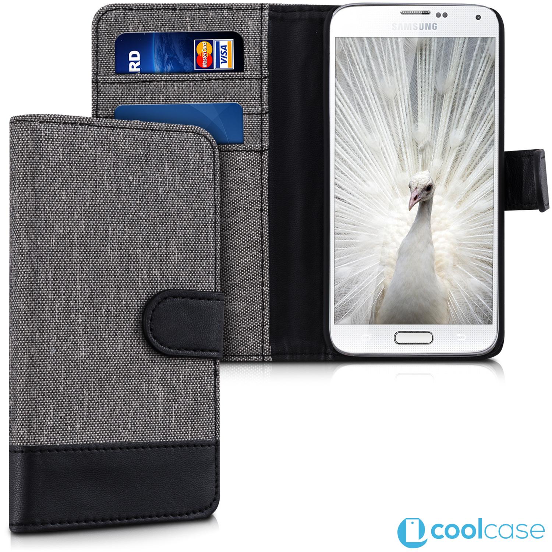 e8e264352 Luxusní flipové pouzdro KWmobile Canvas na Samsung Galaxy S5 Mini Šedé -  černé (Flipové knížkové