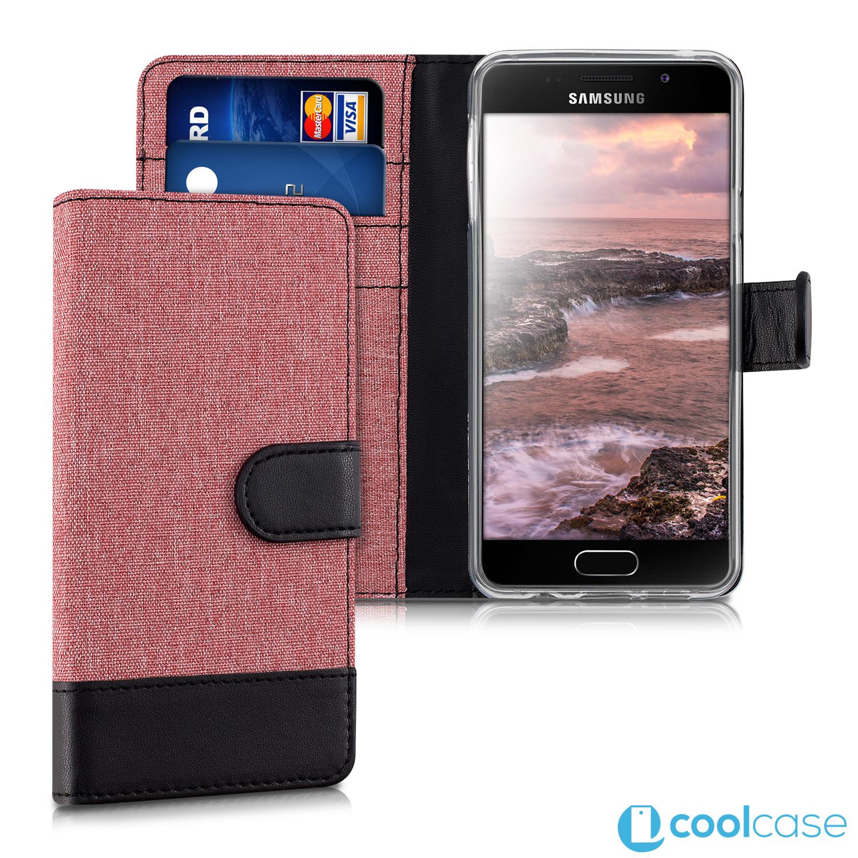 Luxusní flipové pouzdro KWmobile Canvas Wallet na Samsung Galaxy A3 (2016)  Růžové 19330da3f4d