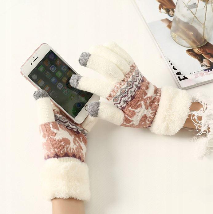 Rukavice na dotykový displej mobilu NORWAY STYLE Dámské - bílé ... 37ed3a6d8b