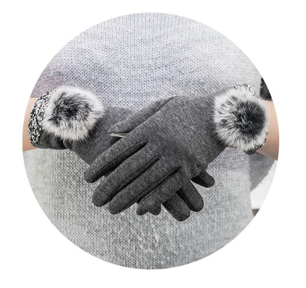 Rukavice na dotykový displej mobilu BIG POMPON Dámské - šedé ... f3e50069df