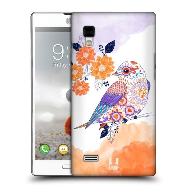 Plastové pouzdro na mobil LG Optimus L9 P760 HEAD CASE PTÁČEK TANGERINE (Kryt či obal na mobilní telefon LG Optimus L9 P760)
